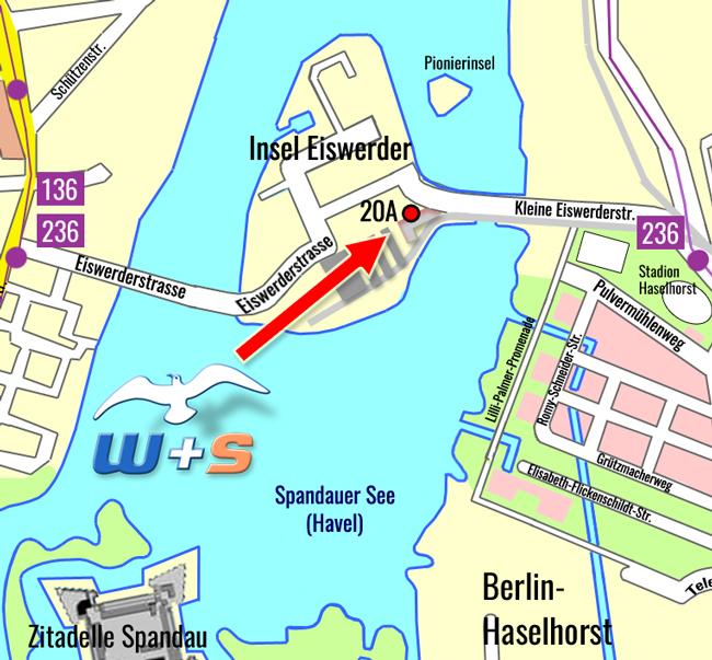 So finden Sie uns! W+S Water Safety Europe GmbH, Eiswerderstr. 20A, 13585 Berlin, Deutschland