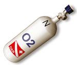 """Leichtstahl-Flaschen für medizinischen Sauerstoff: Mit Standardlackierung oder besonders korrosionsbeständig (z.B. für den Einsatz am Meer) und nur bei uns zu haben: mit Flammspritzverzinkung (""""Plus"""" Flaschen). Alle Flaschen mit europäischer Bauartzulassung e-1D laut Verordnung EWG 84-525 vom 17.09.1984"""