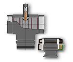 Dräger Panorama Dive R Vollgesichtsmaske Mundstück + seitlicher Anschluss Detailzeichnung