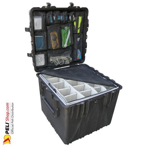0370 Würfel Koffer, Mit Einteiler, Schwarz